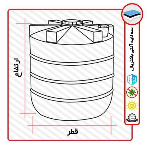 ابعاد مخزن آب عمودی سه لایه آنتی باکتریال